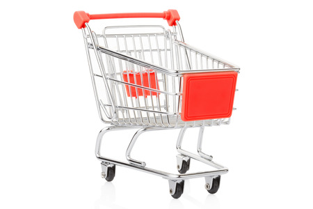 chrome cart: Red shopping cart isolated on white