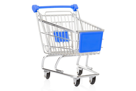 Blue shopping cart on white clipping path