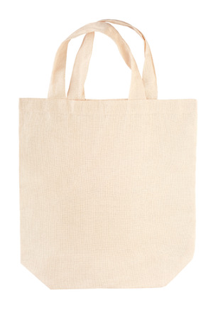 closeup on bags: Fabric canvas bag isolated on white clipping path