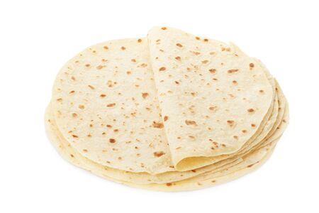 Piadina italian tortilla heap on white clipping path photo