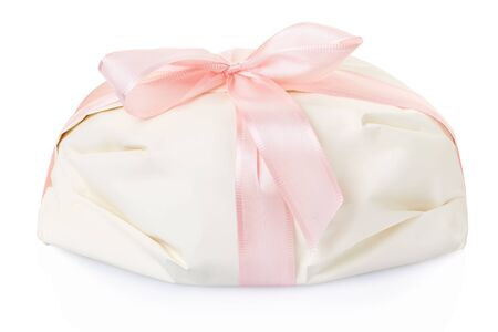pink satin: White gift present with pink satin ribbon clipping path