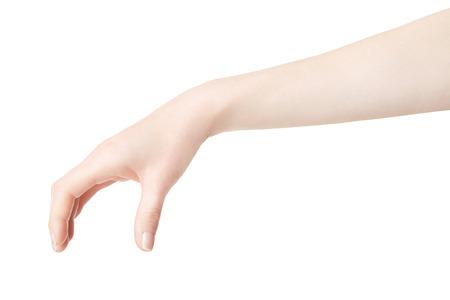 gestos: Mano de la mujer recogiendo algo en blanco