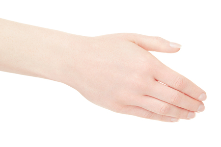 human arm: Woman empty hand back on white