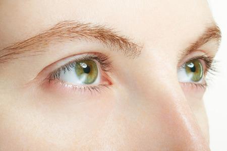 beauty eyes: Woman green eyes macro, vision concept
