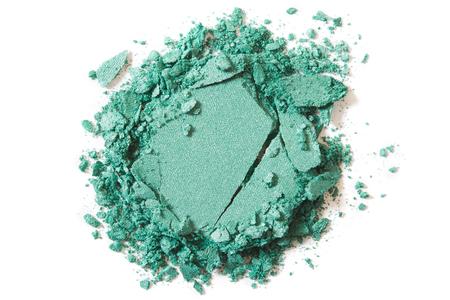 white colour: Green eye shadow make up broken on white