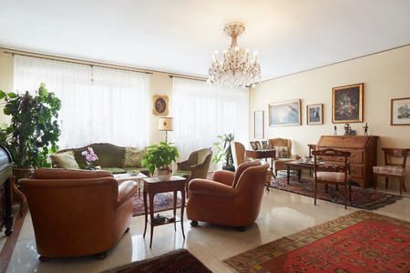 furnished apartments: Living room, classic interior with antiquities