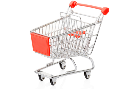 shopping cart isolated: Red shopping cart isolated on white, clipping path Stock Photo