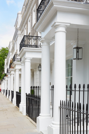 edwardian: Row of White Edwardian Houses, West London