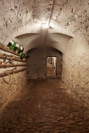 basement: Old, dark basement corridor in ancient house