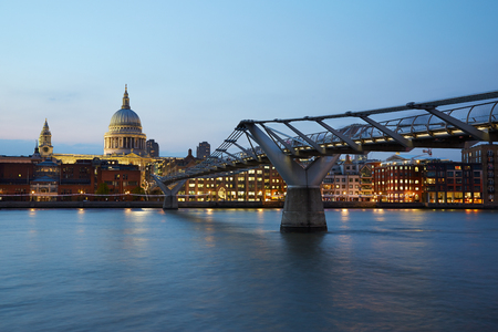 st pauls: St Pauls Cathedral and Millennium bridge in London at night, natural colors