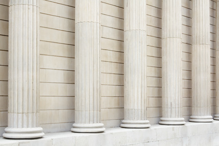 column: White classical columns and wall background, perspective view