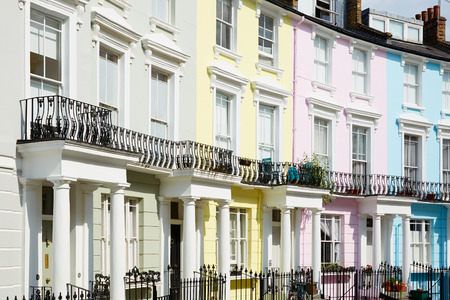Colorful London houses, english architecture 스톡 콘텐츠