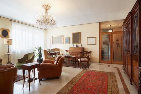 classic interior: Living room, classic italian interior with antiquities