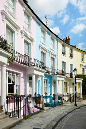 hill: Colorful London houses in Primrose hill, architecture
