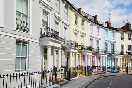 london street: Colorful London houses in Primrose hill, english architecture Stock Photo