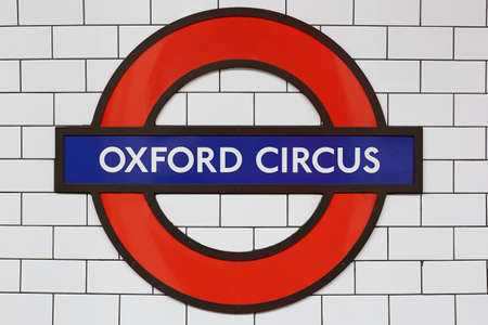 tube station: Oxford circus station sign in London