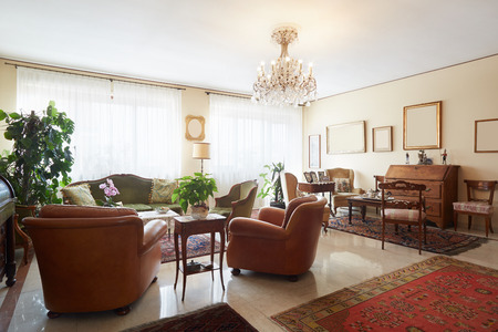 Living room, classic italian interior with antiquities