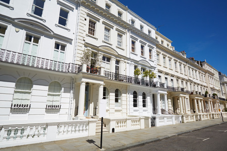 house sale: White luxury houses facades in London, Notting hill