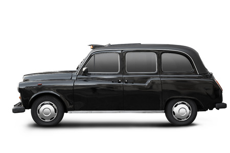 black cab: English old taxi, black cab in London on white, clipping path Editorial