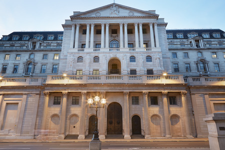 england: Bank of England facade in London in the evening Editorial