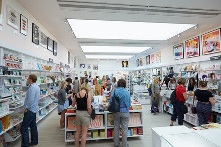 visitors: Visitors at the Saatchi Gallery book shop in London