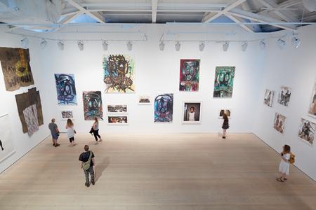 Odwiedzających na wystawie sztuki w Saatchi Gallery w Londynie Publikacyjne