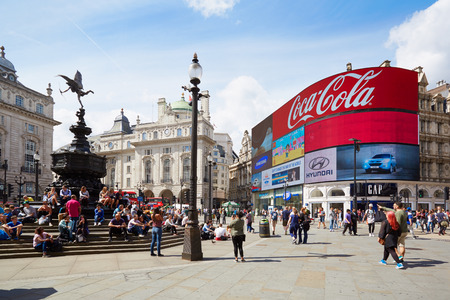 piccadilly: Piccadilly Circus neon signage and Eros fountain in London
