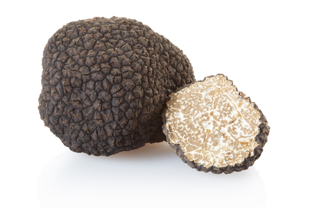 Black truffle and half on white, clipping path
