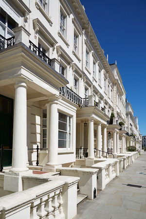 terrace house: White luxury houses facades in London, borough of Kensington and Chelsea Editorial