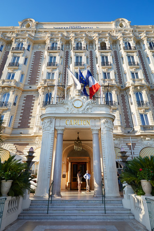 Luxury hotel InterContinental Carlton entrance in Cannes, France Editorial