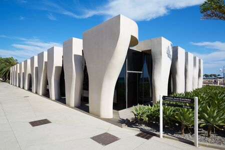 rudy: Jean Cocteau Museum, contemporary architecture hosts the Severin Wunderman Collection on July 25, 2015 in Menton, France. The building was designed by architect Rudy Ricciotti.