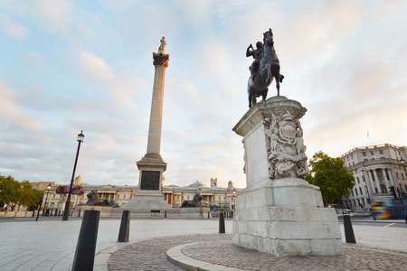 trafalgar: Empty Trafalgar square, early morning in London Stock Photo