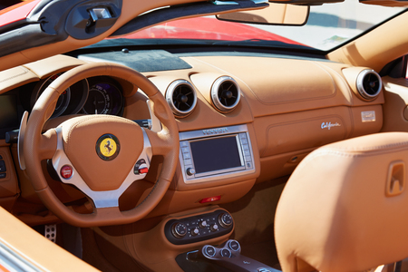 Ferrari California leather interior in Paris, luxury sport car