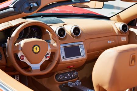 Ferrari California leather interior in Paris, luxury sport car Stock Photo - 51903291