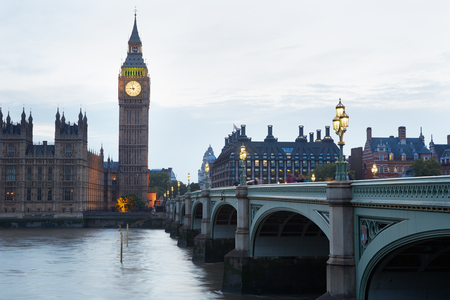 england big ben: Big Ben and Houses of parliament at dusk in London, natural light and colors Stock Photo