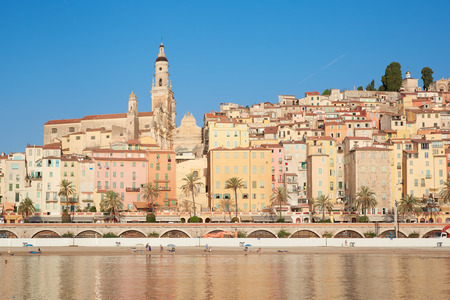 menton: Menton, old city houses in the morning, French riviera Stock Photo