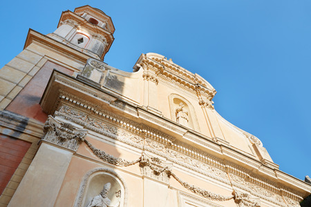 menton: Menton, Penitents Blancs church with blue sky, France Stock Photo