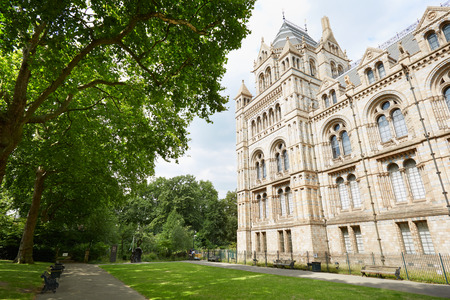 history building: Natural History Museum building facade and garden in a in London