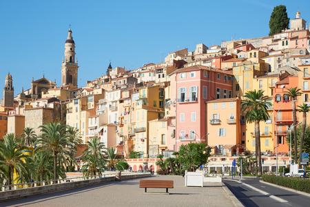 menton: Menton, old city houses and street in the morning, French riviera Stock Photo