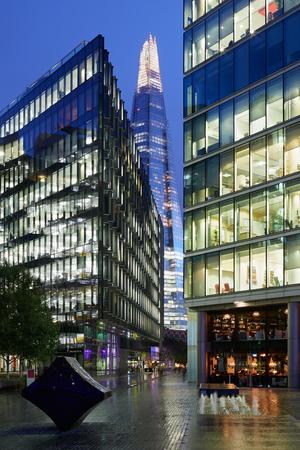 shard: The Shard building illuminated at night in London Editorial