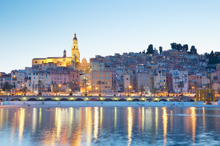 menton: Menton, old city illuminated in the evening, French riviera