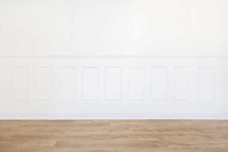 white trim: Empty white room with wooden floor and wood trimmed wall
