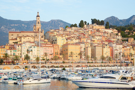 menton: Menton, old city and harbor view in the early morning, French riviera Stock Photo