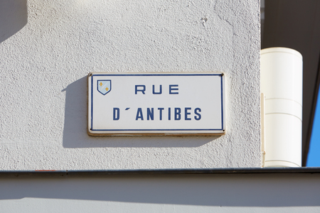 plaque: Cannes, famous rue dAntibes shopping street plaque Editorial