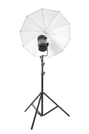 strobe lights: Studio flash with white umbrella and stand on white