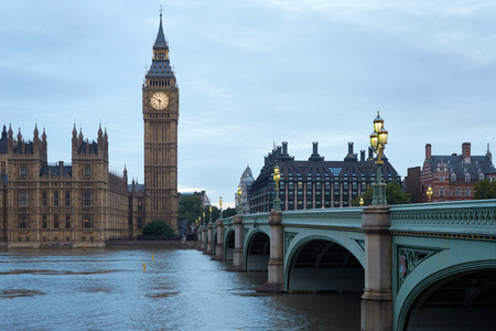quiet: Big Ben and bridge in the early morning in London, natural colors and lights