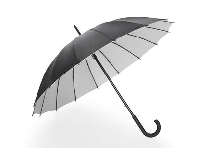 protection concept: Open black umbrella with soft shadow on white