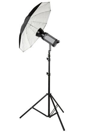 strobe lights: Studio flash with umbrella and stand on white