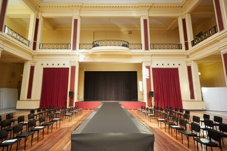 runway fashion: Palais de lEurope building, theater interior before a fashion show in Menton, France Editorial