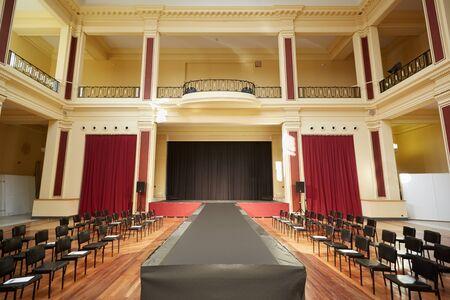 palais: Palais de lEurope building, theater interior before a fashion show in Menton, France Editorial